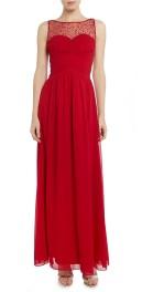Little Mistress - sleeveless beaded mesh top maxi dress