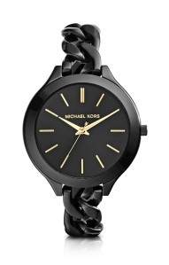 Michael Kors €199 - Slim Runway Black Ion-Plated Stainless Steel Link Bracelet Watch http://bit.ly/12hKl4R