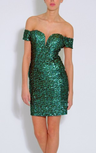 Rare €74.45 - Multi Blue And Green Sequin Bardot Dress (also available in Topshop) http://bit.ly/1FJ8TSv