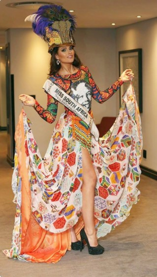 Miss South Africa, Rolene Strauss, wearing her national costume designed by the Cape Town College of Fashion Design