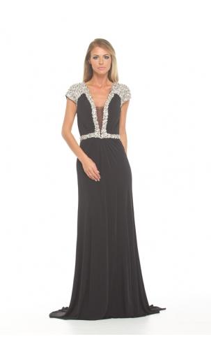 Jovani @ Caris Closet - Black Embellished Cap Sleeve http://bit.ly/1IYeO5W
