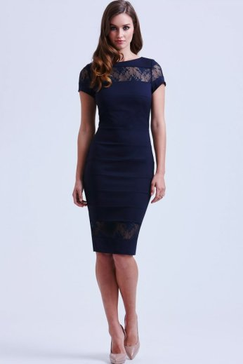 Paper Dolls €54 - Navy Lace Panel Insert Bodycon http://bit.ly/1wnQbJ2