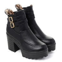 Chicwish €57.30 - Slip-on Buckled Chunky Platform Boots http://bit.ly/15Mzv8E