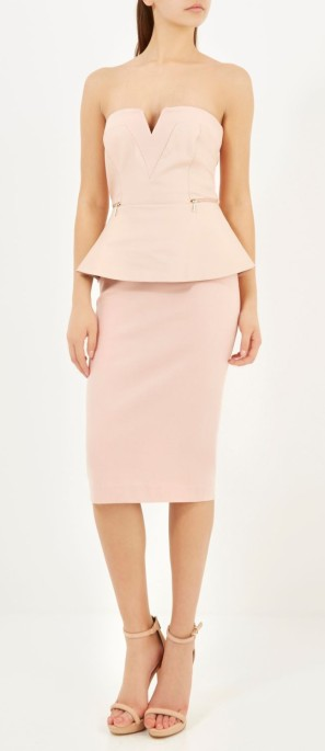 River Island €80 - Nude Pink Bandeau Zip Side Pencil Dress http://bit.ly/1zK3ACw