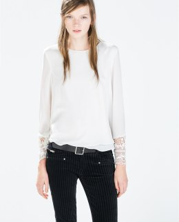 Zara €25.95 - Top with embroidered cuffs (also available in Dark Green or Navy Blue) http://bit.ly/17x0s0F