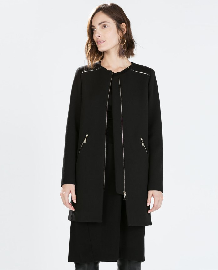 Zara €89.95 - Zipped coat with round neck http://bit.ly/1KyOqDo