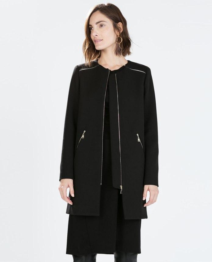 Zara €89.95 - Zipped coat with round neck http://bit.ly/1KyOqDo