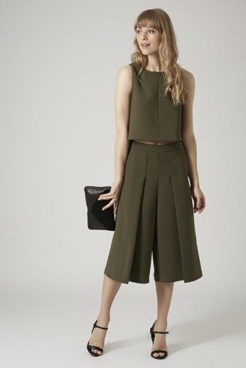 Topshop Premium £36/€46 - Textured Shell Top £55/€70.40 - Thick Crepe Culottes http://bit.ly/1FHQrgn