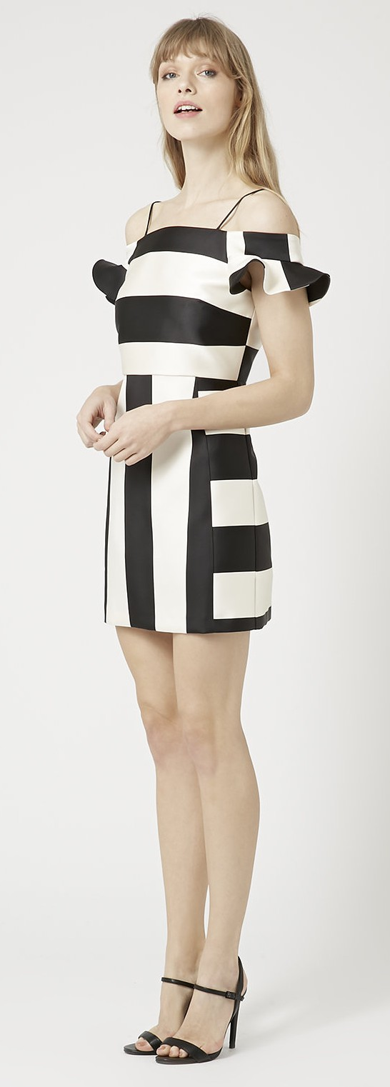 Topshop €103.25/£75 - Satin Stripe Bardot Dress http://bit.ly/1LRF8ls