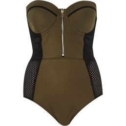 River Island €47 - Khaki Mesh Insert Swimsuit http://bit.ly/18qMGxB