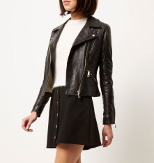 River Island €160 - Black leather fitted biker jacket http://bit.ly/1XsjTMQ