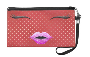 Zazzle €57/£42.95 - Hipster pink glitter lips tattoo & red polka dots wristlets http://bit.ly/1CuPKow