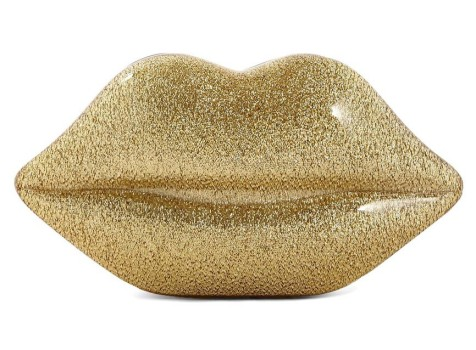 Lulu Guinness €245 - Lips Clutch in Gold Glitter http://bit.ly/1zIZFoz