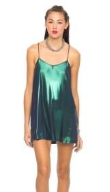 Motel €50 - Meadow Slip Dress In Iridescent Green http://bit.ly/1CTsaAn
