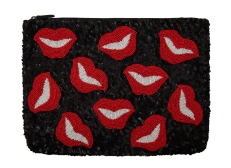 Santi €130/£98 - Black Lips Sequined Clutch Bag http://bit.ly/1DERgBx