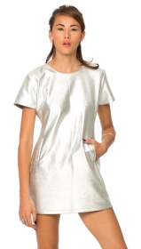 Motel €24 - Virgo Mini Dress in Silver Foil http://bit.ly/1Dylfv4