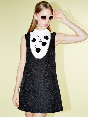 Dahlia €98.32/£70 - Marina Black Contrast Bib Shift Dress with Embellished Flower http://bit.ly/1BInCwN