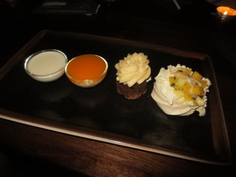 The mini desserts (L-R): Panna Cotta, Rice Pudding, Chocolate Peanut Butter Brownie, Pavlova