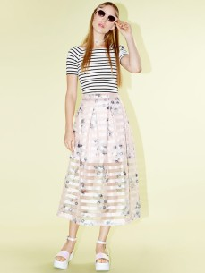 Dahlia €81.47/£58 - Tiffany Pink Floral and Stripe Organza Full Midi Skirt with Pleated Waist http://bit.ly/18OVFIe