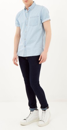 Blue Denim Triangle Print Shortsleeve Shirt, €40 http://bit.ly/18ODYbT // Dark Wash Sid Skinny Stretch Jeans, €35 http://bit.ly/1xnJz4w // White Leather Lace up Hi-Top Sneakers, €75 http://bit.ly/1AhboNm
