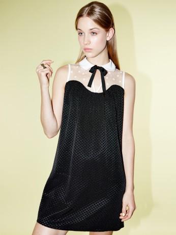 Dahlia €87/£62 - Miriam Black Contrast Collar Smock Dress with Lace Yoke and Neck Tie http://bit.ly/1HUguyo