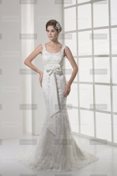 Fanny Crown €419 - Beautiful Scoop neck Long Ivory Wedding Dress http://bit.ly/1AGiBRy
