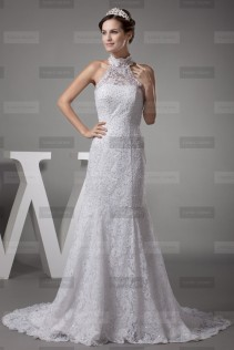 Fany Crown €449 - Fine High neck Long White Wedding Dress http://bit.ly/1ErK9LQ