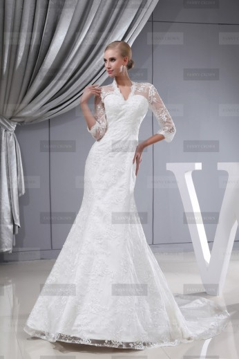 Fanny Crown €429 - Beautiful V-neck Long Ivory Wedding Dress http://bit.ly/1B1662h