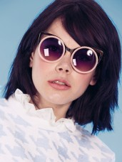 Dahlia €35.11/£25 - Gold Metal Cat-Eye Sunglasses with Pink Rim and Tinted Lens http://bit.ly/1Cj0fKZ