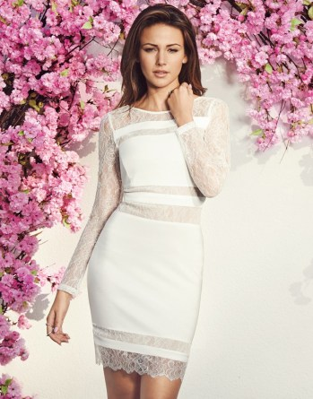 Michelle Keegan @ Lipsy €90 - Lace Panel Bodycon Dress http://bit.ly/1InIP2b