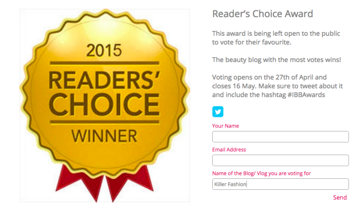 beautyblogawards Readers Choice Award