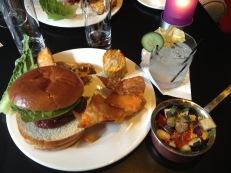 BBQ: Burger, Chilli Cheese Nachos, Potato Wedges, Corn on the Cob & Fresh Bean Salad with Gin & Cucumber Tonic cocktail