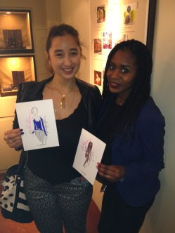 Myself and Filomena with our Miss Magpie Fashion Spy illustrations