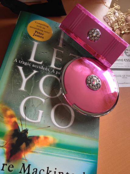 I Let You Go by Claire Mackintosh, Pink & Silver Swarovski lipstick holder and compact mirror