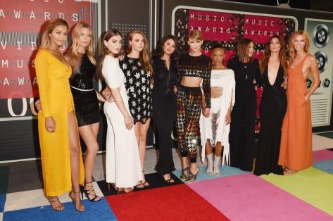 (L-R) Gigi Hadid, Martha Hunt, Hailee Steinfeld, Cara Delevingne, Selena Gomez, Taylor Swift, Serayah, Mariska Hargitay, Lily Aldridge & Karlie Kloss