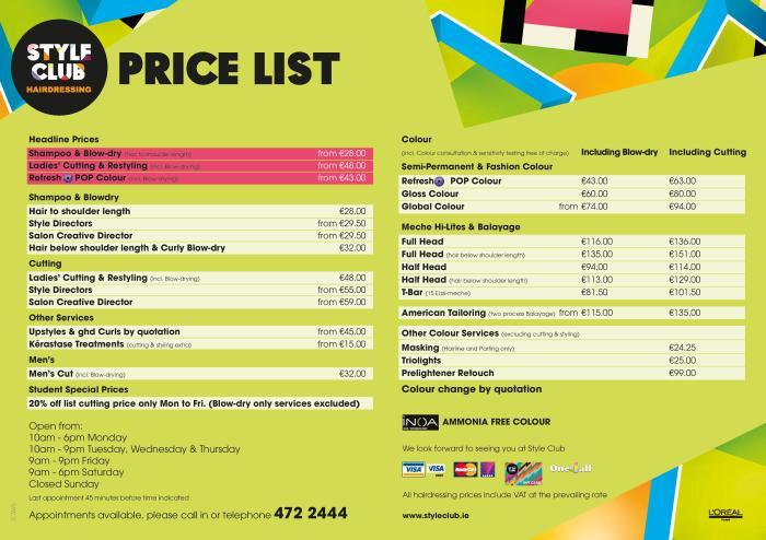 Style Club Price List