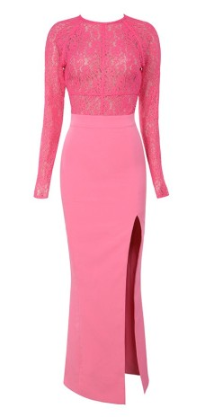 House of CB €205 - Anzia Fuschia Lace & Crepe Long Dress http://bit.ly/1jTKofC
