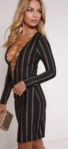 PrettyLittleThing €28 - Alix Gold Stripe Lace Up Mini Dress http://bit.ly/1NC4aUe