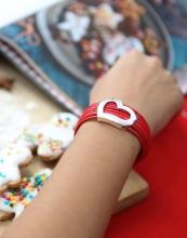 By Dziubeka €13.30 - Red Bracelet with Silver Heart http://bit.ly/1QmoNL3