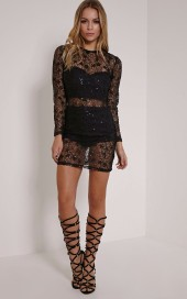 PrettyLittleThing €42 - Hayli Black Baroque Sequin Lace Dress http://bit.ly/1OHFe2S