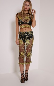 PrettyLittleThing €36 - Meela Gold Floral Embroidered Mesh Midi Skirt http://bit.ly/1YSmEb0
