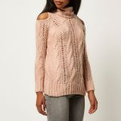 River Island €45 - Light pink knitted cold shoulder jumper http://bit.ly/1RmsaS6