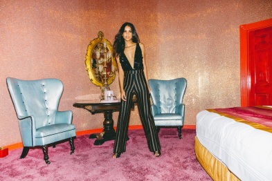 Roxie black sequin plunge bodysuit & Isabel metallic stripe palazzo trousers