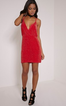 PrettyLittleThing €36 - Tayah Red Wrap Front Glitter Bodycon Dress http://bit.ly/1RxmYK6