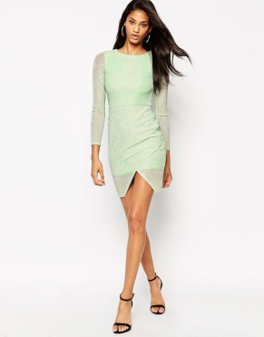 ASOS Glitter Bodycon Asymmetric Hem Dress €15 http://bit.ly/1QfbR4g