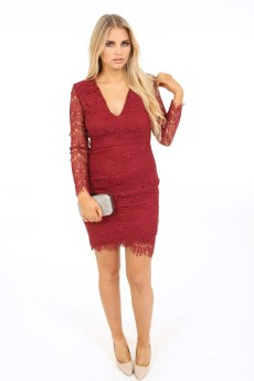 AX Paris Lace Long Sleeve Dress