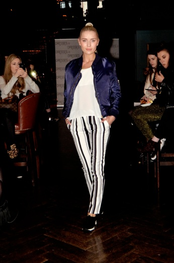 Navy Bomber Jacket & Striped Tailored Trousers (Photo by Yellow Machine PR)