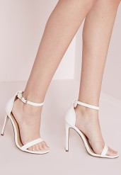 Missguided €35 - Barely there strappy heeled sandals white croc http://bit.ly/1q41Px7