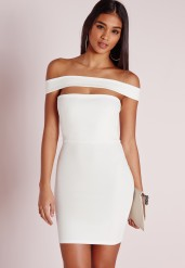 Missguided €42 - Cut out panel bardot bodycon dress http://bit.ly/1RnsEFC