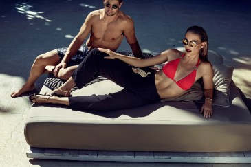 BIBA Kayla trim triangle bikini top €32.50, BIBA black trousers with gold pocket detail €90